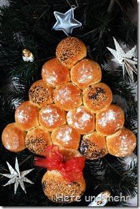 Weihnachtsbaum-Brötchenkranz